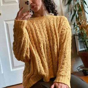 American Eagle Yellow Cable Knit Chenille Sweater